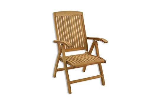 TEAKHOLZ Klappsessel TEAK KINGSBURY verstellbar Garten Stuhl Sessel