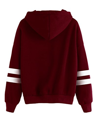 Minetom Femme Automne Tops à Manches Longues Varsity Rayé Encapuchonné Sweat-shirt Sweats à capuche Chemisiers Rouge