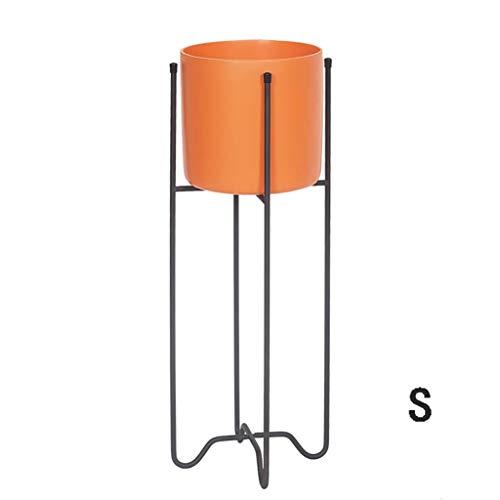 GWM Bodenständer aus Schmiedeeisen, Nordic Modern Minimalist Indoor Living Harz Multicolor Flower Pot Pot Coaster (Farbe: Lila, Größe: S) (Farbe : Orange, größe : S) -
