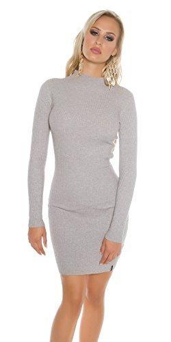 Koucla Damen Strickkleid Feinstrick Ripp Kleid Minikleid Stehkragen | Long Pullover Pullikleid gerippt | grau 32 34 36