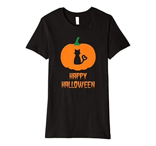 Cat Lover Happy Halloween T-Shirt Geschenk für Frauen Teens Mädchen