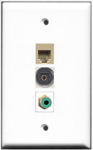 RiteAV-1Cinch Buchse RJ11, RJ12und 1Port, grün, beige und 1Port Toslink-Wanddose -