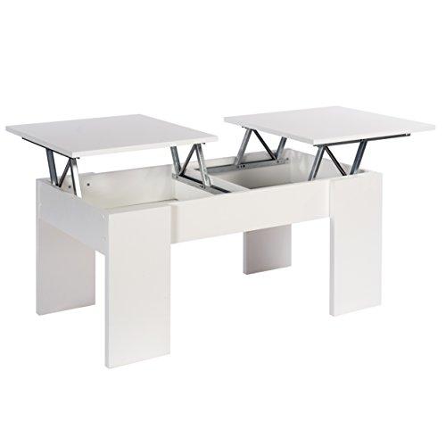 Studio Decor, Ganso, Tavolino, Bianco, 100 x 50 x 45 cm, 2 Ripiani Alzabili