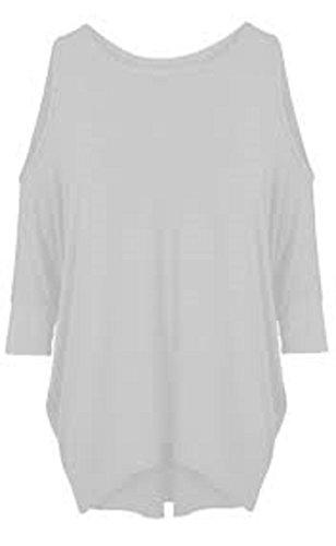 Da donna, maniche a pipistrello Cut Out Cold Shoulder maglietta a maniche lunghe Top Tunica dress 8–26 White