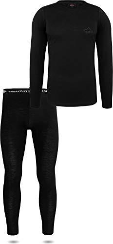 normani Herren Merino Unterwäsche-Set Garnitur (Unterhemd und Unterhose) 100{96a4b16b7b8f5d914f9d31bea623d9e4adb674eb18edadb9f9d2515c10e4278c} Merinowolle Thermounterwäsche Ski-Funktionsunterwäsche Größe L/52