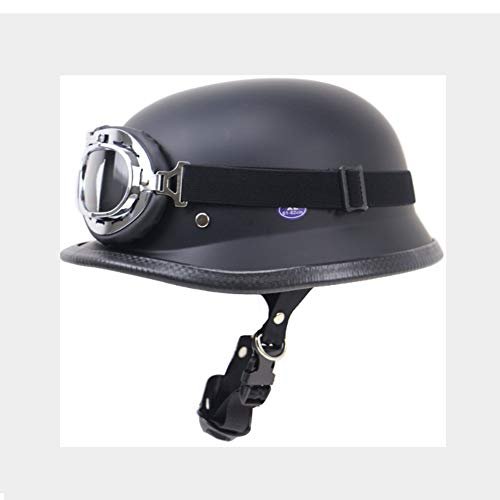 SNOW WOLF Casco Moto Retro Half Helmet Harley Locomotive Helmet Outdoor Riding Helmet Due Colori con Occhiali,Dark,L