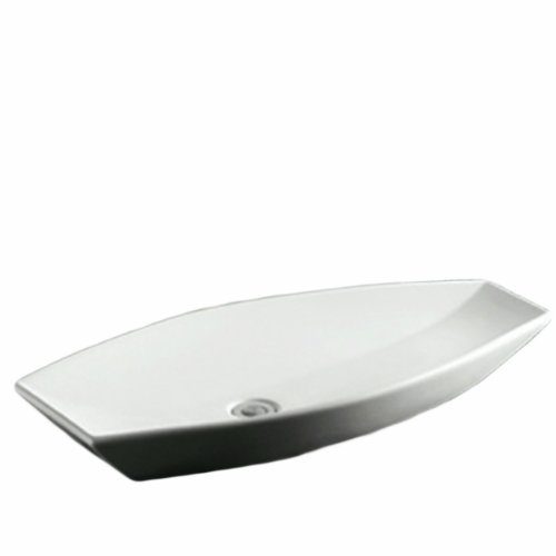 Whitehaus WHKN1086-WH Isabella 31-Inch Oval Above Counter Lavatory Basin with Offset Center Drain and No Overflow, White by Whitehaus Collection -
