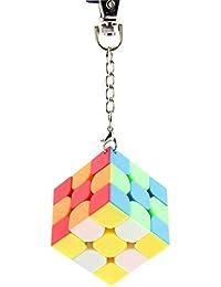 Fancyku Mini 3x3 Keychain Cube Keyring Cube Magic Cube Stickerless Bright Speed Cube