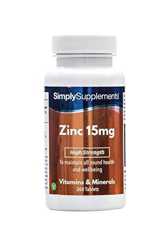 Zinc 15mg - 360 comprimidos - 1 año de suministro - Mineral esencial - SimplySupplements