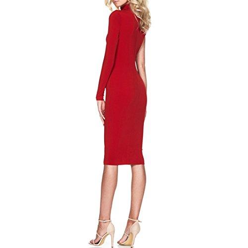 QIYUN.Z Charme Dame Eine Schulter Lange Ärmel Hoch Hals Bodycon Parteikleid Wackeln Kleid Rot