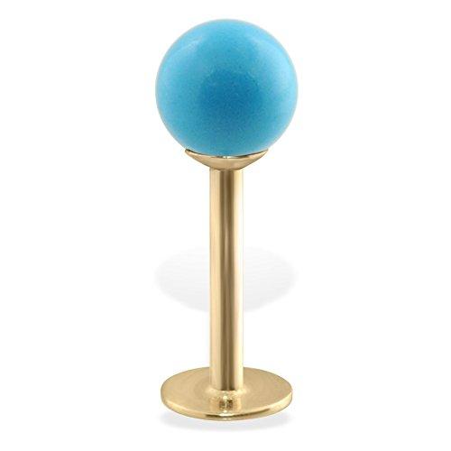 14K Gold Labret mit Nachahmung Türkis Ball, Gauge: 12(nadeldicke), Ball Größe: 1/20,3cm (3mm)
