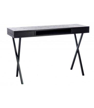bureau-Zig-Zag-2-tiroirs-avec-pieds-en-croix-en-bois-noir-120X40X77CM-J-Line