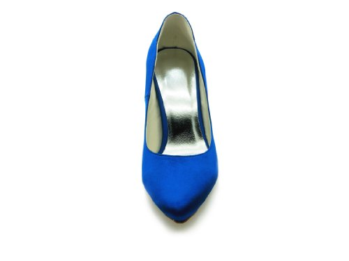 Jia Jia Femmes Chaussures De Mariage 8390b3 Bout Fermé Talon Satin Escarpins Chaussures De Mariage Bleu
