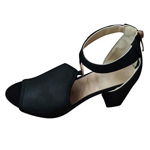 SHE.White Damen High Heels Fischmaul Schuhe Besondere Hohl Ring Römische Sandalen Quadratischer Absatz Atmungsaktiv Sandaletten Mode Casual Sommerschuhe 36-42