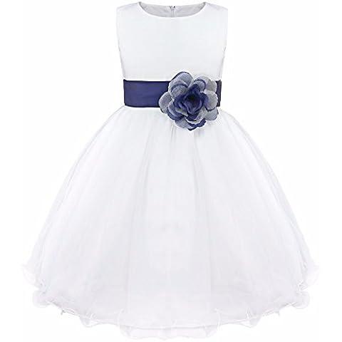 iEFiEL Vestido Blanco de Princesa Fiestas Boda para Niñas Vestidos Elegantes de Noche