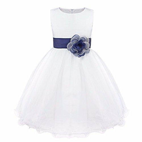 b231306ef iEFiEL Vestido Blanco de Princesa Fiestas Boda para Niñas Vestidos  Elegantes de.