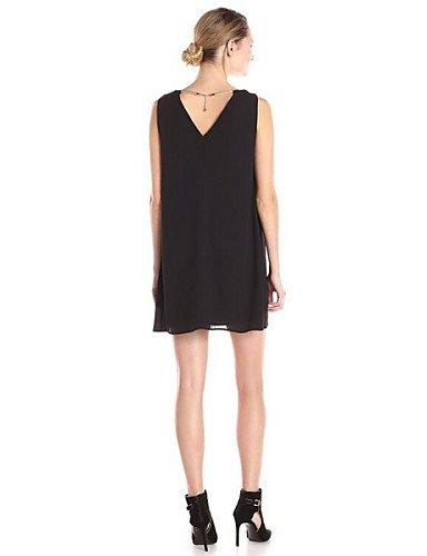 PU&PU Robe Aux femmes Mousseline de Soie Simple,Couleur Pleine Col en V Au dessus du genou Polyester BLACK-L