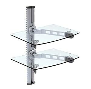 Nextech DVD-3C Support mural pour DVD et autres appareils audio-vidéo + 2 tablettes en verre Transparent