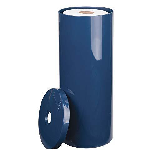mDesign portarrollos de pie - Elegante dispensador de papel de plástico resistente - Portarrollos baño para 3 rollos color azul marino
