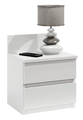 Nachtschrank Nachtkonsole Nachttisch Nachtschränkchen Beistelltisch V86 (Weiß)