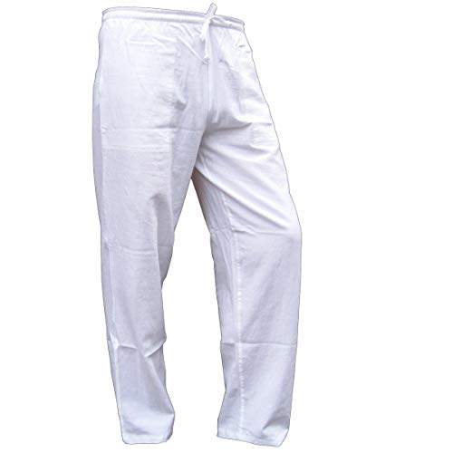 Panasiam® – Pantalones y camisas de verano, de suave y confortable algodón natural, 100% puro Hose in weiss 50