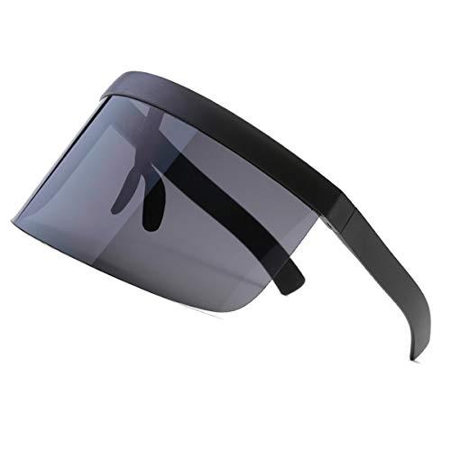 VORCOOL Oversize Sonnenbrille Futuristic Shield Flat Top verspiegelt Unisex Windschutz Sonnenschutz für Männer Frauen Outdoor Sport (schwarz)