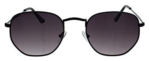 Kleine schmale Retro Sonnenbrille Damen Herren Metal Frame Lennon Stil Metallrahmen oval round Pilotenbrille RM48 (M2: Schwarz)