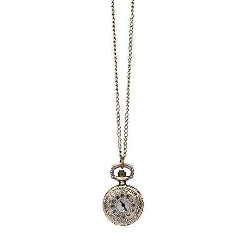 wuayi Herren Taschenuhr Vintage Steampunk Uralt Bronze Design Uhr Quarz Kette Anhänger Halskette für Opa Papa Geschenk - Antiken Gold-licht-kit