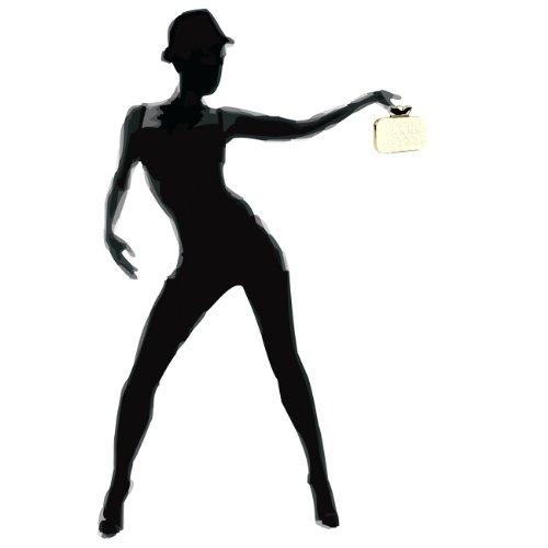 CASPAR Damen Schlagring Box Clutch / Abendtasche mit Stoff Häkel Spitze Dekor und Strass Steinen - viele Farben elfenbein