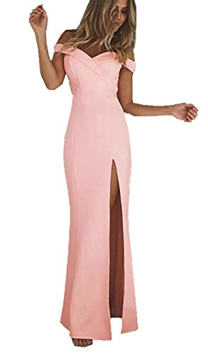 CoCo Fashion Damen Trägerlos Bustier Split Maxikleid Sexy Off Shoulder Langes Abendkleid Party Schulter Kleider, Rosa, Gr. XL/40 (Cocktail-abend-kleid)