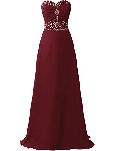 JAEDEN Traegerlose Chiffon Ballkleider Lang Brautjungfernkleid Abendkleid Festkleid Burgund