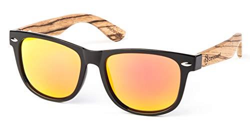 Bexxwell Sonnenbrille mit Echtholz-Bügeln, handgefertigt, UV-Schutz, polarisiert (Holz, Wood) (Schwarz/Rot und Holz hell)