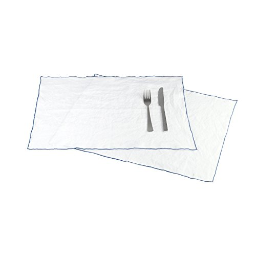 BLANC CERISE Lot DE 2 Sets de Table - 100% Lin Lavé-Unie - Bourdon Contrasté Bleu 38x48
