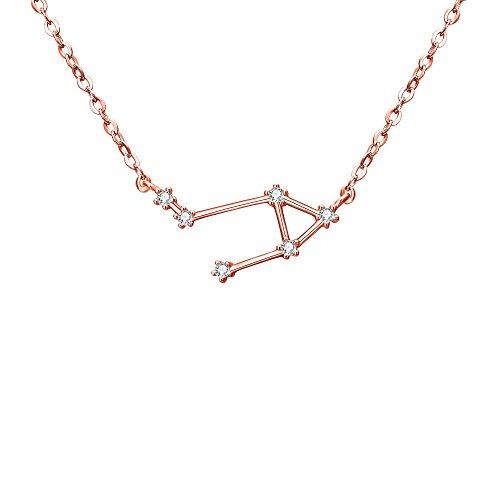 Clearine Halskette Damen 925 Sterling Silber Cubic Zirconia 12 Sternbilder Sternzeichen Horoskop ''Waage'' Anhänger Hals-Schmuck Rose-Gold-Ton -
