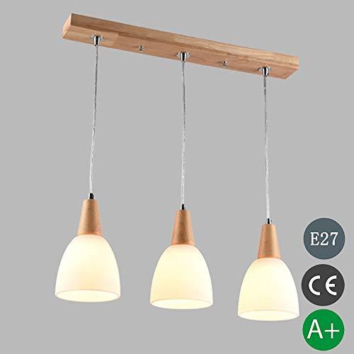 LED Holz Glas Pendelleuchte Höhenverstellbar Esstisch Lampe E27 Kronleuchter Holzlampe 3-Flammig Hängelampe Esszimmerlampe Vintage Industrial Küche Hängeleuchte Innen Deko Decke Leuchte L54*13 cm