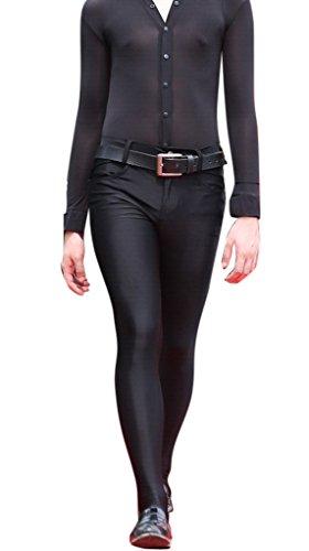 LinvMe Herren Sexy Footed Enge Hose XL Schwarz Footed Hosen
