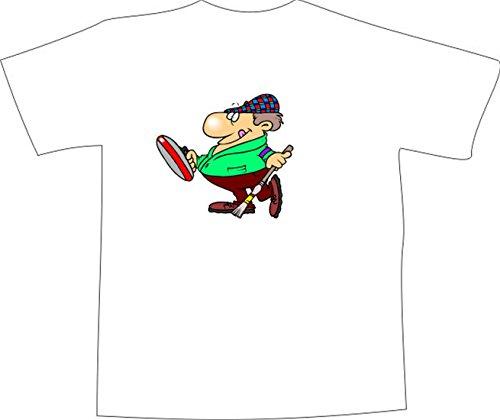 T-Shirt E1272 Schönes T-Shirt mit farbigem Brustaufdruck - Logo / Grafik / Design - dicker Mann mit Hut beim Curling Weiß