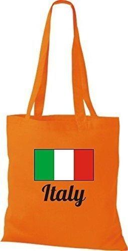 ShirtInStyle Stoffbeutel Baumwolltasche Länderjute Italy Italien Farbe Pink orange