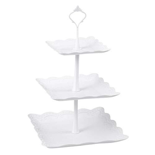 BESTONZON Drei Tiers Kuchen Display Stand, Cupcake Dessert Ständer, elegante, geeignet für Teeparty oder Geburtstag Jahrestag Hochzeit Dekor (24 x 24 x 37 cm)