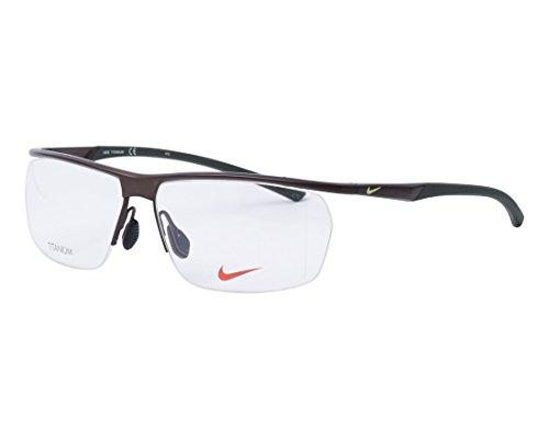 Nike - NIKE 6060, Rechteckig, Titan, Herrenbrillen, DARK BROWN DARK GREEN (202 B), 58/13/140
