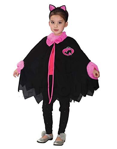 ) 4-5 Jahre - Katzen kostüm - Little Girl Kitten - Verkleidung Karneval Halloween Cosplay Zubehör - Poncho-Mantel + Stirnband mit Ohren ()