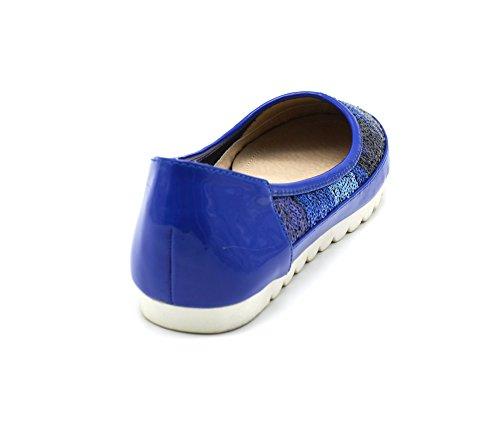 Oh My Shop SHP87 * Ballerines Vernies Surpiqûres avec Dégradé de Sequins et Semelle Compensée - Mode Femme Bleu