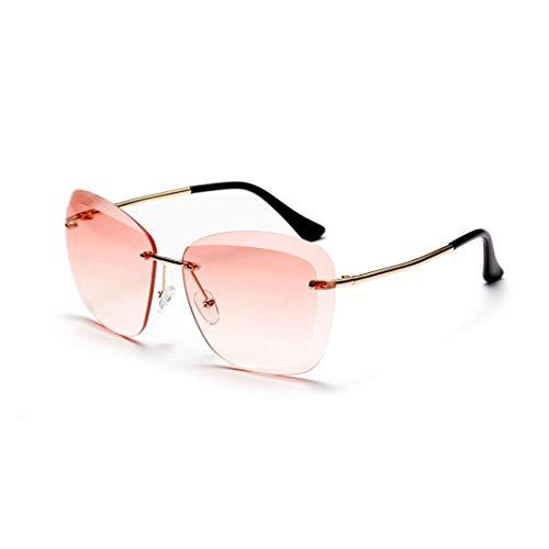 Easy Go Shopping Frameless Full Lens Sonnenbrillen, stilvolle klare Farbbrillen für Frauen/Mädchen. Sonnenbrillen und Flacher Spiegel (Farbe : Rosa)