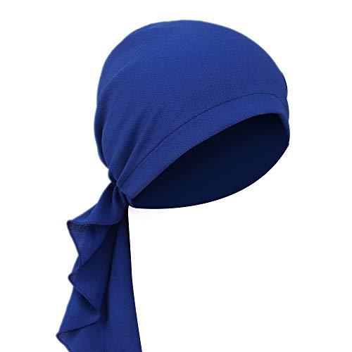 MoreChioce Frauenalltags Baumwolle Kopftücher, MoreChioce Damen Turban Hut Frauen Kopftuch kopfbedeckung Mädchen Weiche Stirnband kompatibel mit Make-up Haarverlust, Marineblau,EINWEG