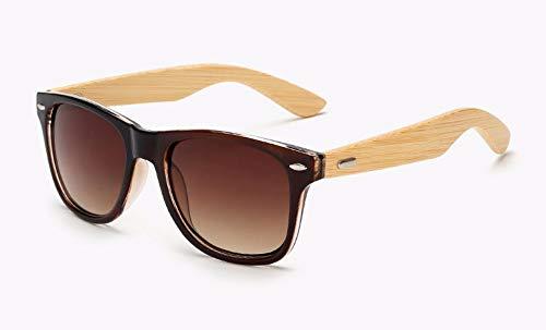WSKPE Sonnenbrille Design Bambus Holz Sonnenbrille Marke Männer (Braune Linse) Beschichtung Quadrat Sonne Brille Frauen Schattierungen Brillen Uv400