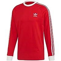 adidas 3-Stripes LS T Camiseta de Manga Larga, Hombre, Lush Red, M