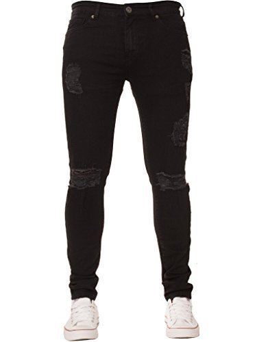 NEU Herren Enzo Super Skinny Stretch zerschlissene Jeans distressed Jeans - Schwarz, 34W x - Jeans Zerschlissene