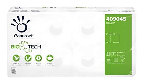 Papernet 409045 Bio Tech 3-lagig selbstauflösendes Toilettenpapier für Camping,Boot Größe 72 Rollen