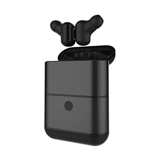 Bluetooth-ohrhörer-konverter (Bluetooth-Headset, Dual-Wireless-Kopfhörer Mini-Stereo-Ohrhörer anrufen und hören Sie Musik Built-in Lärm Abbrechen Mikrofon und laden Case für Smartphones (Black))