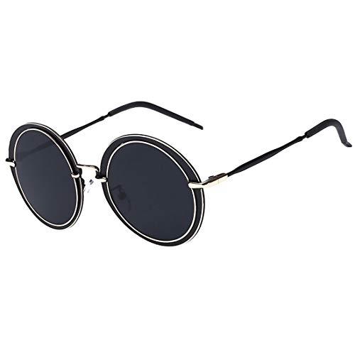 Easy Go Shopping Unisex-Erwachsene Steampunk Runde Form Metallic Frame UV-Schutz Sonnenbrillen Sonnenbrillen und Flacher Spiegel (Farbe : Schwarz)
